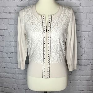 NEW WHBM ZIP FRONT CARDIGAN LACE OVERLAY